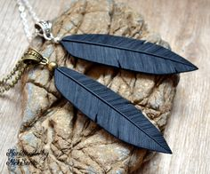Black necklace Black jewelry Feather necklace Feather jewelry Raven necklace Raven jewelry Gothic necklace Gothic jewelry Polymer clay .hba by HandmadeByAleksanta on Etsy