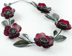 LW244  Camellia Lei - red acrylic and stg silver  $2185