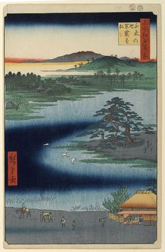 """Hiroshige - One Hundred Famous Views of Edo Winter 110 """"Robe-Hanging Pine"""" at Senzoku no ike (千束の池袈裟懸松 Senzoku no ike Kesakakematsu?)Senzoku no ike, """"Robe-Hanging Pine"""", Hachiman ShrineOne of the first five prints sanctioned by the censors; Nichiren is said to have hung his monk's robe on this pine while resting1856 / 2Minami-Senzoku, Ōta"""
