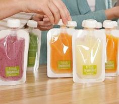 Portable baby food pouches to put your own purees into....INGENIOUS!!!