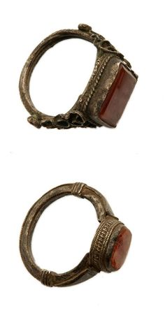 Africa | Silver and glass rings from Sudan | 19th century