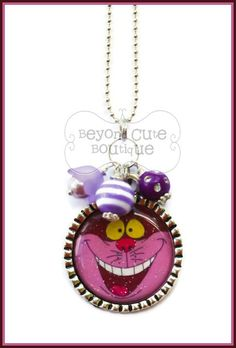CHESHIRE CAT NECKLACE or Keychain // Alice by BeyondCuteBoutique