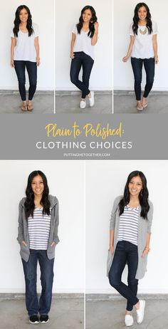 Plain to Polished: Adjusting Your Clothing Choices Basic Outfits, Sporty Outfits, Cute Outfits, Fashion Outfits, Fashion Trends, Casual Outfits For Moms, Amazing Outfits, Budget Fashion, Fashion Hacks