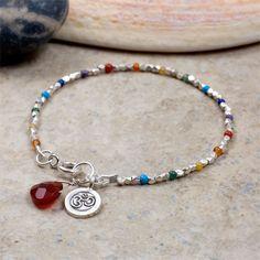 OM bracelet silver and rainbow of beads Chakra Jewelry, Chakra Bracelet, Yoga Jewelry, Jewelry Gifts, Handmade Jewelry, Ankle Bracelets, Jewelry Bracelets, Coral Bracelet, Spiritual Jewelry