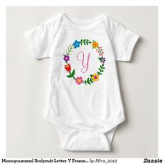 Monogrammed Bodysuit Letter Y Frame Flowers. new baby, birthday, or Christmas gift for a girl whose name starts with Y: Yanna, Yvette, Yaire, Yara, Yaara, Yachi, Yolanda, Yasmine, Yasmina, Yulia, Yanna, Yael, Yanis, Yarrow, Yalena, Yanae, Yani, Yadyra, Yacintha, Ylonna, Ylena, Yo Yoko, Ymelda, Yona, Yule, and so on. There are two types of cursive Y letters to choose from, and all the monograms of the English alphabet