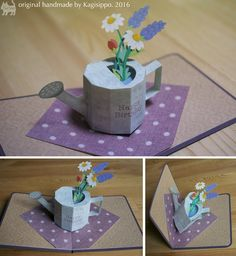 original handmade by Kagisippo. 2016 -------------------- Watering can with flowers pop up card Pop Up Flower Cards, Pop Up Flowers, Pop Up Box Cards, Pop Up Karten, Origami Cards, Exploding Box Card, Diy And Crafts, Paper Crafts, Paper Pop