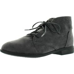 Breckelle's Fontana-13 Womens Round Toe Lace Up Fold Cuff Oxford Ankle... ($35) ❤ liked on Polyvore featuring shoes, boots, ankle booties, oxford flats, wedge flats, lace up boots, lace up wedge boots and wedge booties