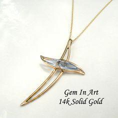 Gold Cross Necklace,aquamarine gold cross,14k Gold cross necklace,Gemstone  cross,Hollow cross,curved cross,protection cross,Gold pendant