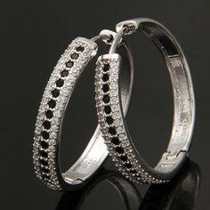 3 Rows Black & White Diamante Crystal Hoop Earrings 925 Sterling Silver Jewelry