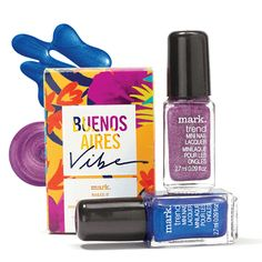"""mark. Nailed It Trend Mini Nail Lacquers """"Wow, great nails! Where did you get them done?"""" That's a little taste of what you will be hearing with this set of two gorgeous en-vogue colours! These stunning shades will instantly transport you to nail heaven. Set of 2 nail lacquers that offer 10 manicures in each mini bottle! 2.7 ml each. Contact me at nicolesavonteam@gmail.com to order yours today."""
