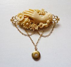 Victorian Carved Ivory look Brooch Forget me Not Mourning Pin with Hand and Flowers mounted on Gold Filigree with Chain and Vintage Locket Noir Jewelry, Cameo Jewelry, Jewelry Box, Hand Jewelry, Vintage Lockets, Vintage Jewelry, Lovely Shop, Dark Brown Color, Gold Filigree