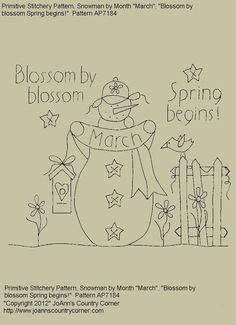 """Primitive Stitchery E-Pattern Snowman by Month """"March"""", """"Blossom by blossom, Spring begins."""""""
