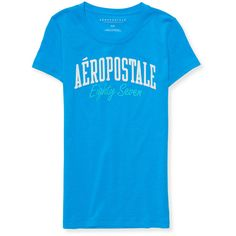 Aeropostale Aéropostale Eighty Seven Graphic T (89 EGP) ❤ liked on Polyvore featuring tops, t-shirts, pikes peak, blue top, glitter top, graphic tees, blue tee and glitter tees