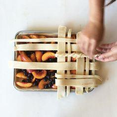 Peach And Blueberry Slab Pie With Lattice Crust via @feedfeed on https://thefeedfeed.com/piecrust/jennyeesf/peach-and-blueberry-slab-pie-with-lattice-crust