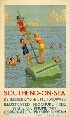 Southend on Sea Poster - Poster and Artwork collection online from the London Transport Museum Posters Uk, Train Posters, Railway Posters, Art Deco Posters, Illustrations And Posters, British Travel, British Seaside, Vintage Travel Posters, Vintage Postcards