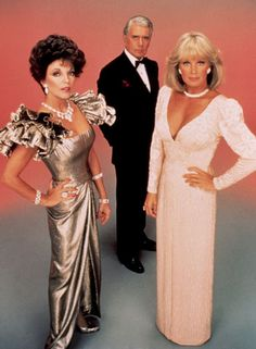 "Ruffles and Poufs: Joan Collins, John Forsythe and Linda Evans, ""Dynasty"" TV Show, Costume Designer Nolan Miller Joan Collins, Linda Evans, Vintage Prom, Vintage Tv, Film Movie, Movies, V Drama, Dynasty Tv Show, Der Denver Clan"