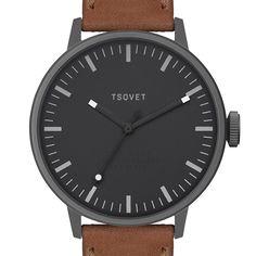 SVT-SC38 (black/tan) watch by TSOVET. Available at Dezeen Watch Store: www.dezeenwatchstore.com