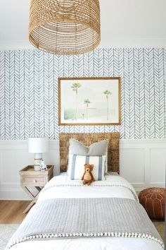 modern coastal kid room decor with herringbone wallpaper and coastal print and rustic headboard, blue and white boy bedroom decor, coastal girl bedroom in cottage or lakehouses Boys Bedroom Decor, Girls Bedroom, Kid Decor, Decor Ideas, Bedroom Ideas, Bedroom Furniture, Bedroom Designs, Bedroom Inspiration, Childs Bedroom