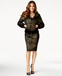 Thalia Sodi Metallic Faux-Fur Bomber Jacket & Faux-Fur-Trim Printed Pencil Skirt, Only at Macy's