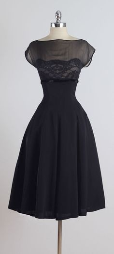 Vintage 1950s Suzy Perette Black Silk Lace Dress.