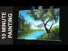 Painting Trees on the Lake and Distant Mountains with Acrylics in 10 Minutes! Canvas Painting Tutorials, Watercolor Paintings Abstract, Acrylic Painting Techniques, Painting Videos, Painting Lessons, Landscape Paintings, Watercolor Tips, Abstract Oil, Watercolors