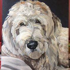 Dog painting labradoodle custompet painting 11x14