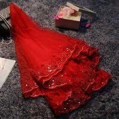 Один слой короткие красный фата с кружевными аппликациями и блестки невеста завеса вуаль Mariage свадебные аксессуары 2016 купить на AliExpress