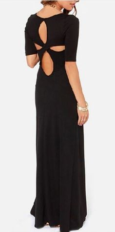 So Sexy Black  Hollow-out Back O-neck Short Sleeves Maxi Party Dress -cb