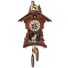Terry Doughty Sentinels Of The Forest Wolf Art Chalet-Style Wooden Cuckoo Clock by The Bradford Exchange Cuckoo Clocks For Sale, Wolf Furniture, Black Forest Germany, Forest And Wildlife, Eagle Art, Chalet Style, Cool Clocks, Indian Art, Native Indian
