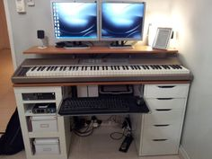 IKEA Hackers: Integrated Computer/Music work desk! LOVE this! Great way to have keyboard ACCESSIBLE and ergonomic IS GOAL! #music #keyboard #desk