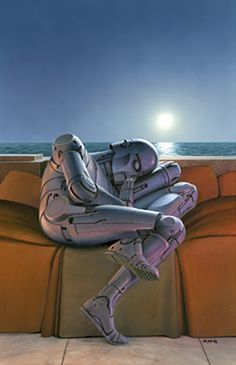 Artist Ralph McQuarrie has died. He was the conceptual artist for the Star Wars films. He also illustrated a couple of Isaac Asimov anthologies ( Robot Dreams and Robot Visions ). I always loved this picture he did for the cover of Robot Dreams : Isaac Asimov, Science Fiction Books, Pulp Fiction, Fiction Novels, Fantasy Books, Sci Fi Fantasy, Sci Fi Books, My Books, Cyberpunk
