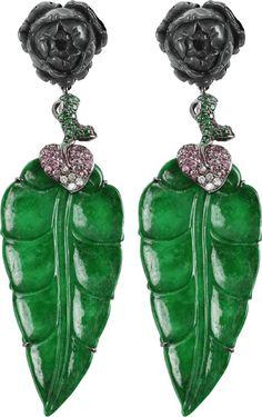 WENDY YUE Jade Leaf Drop Earrings $8,825.00 thestylecure.com