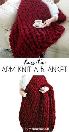 Learn how to make those chunky, soft, cozy blankets in no time with this arm knit blanket tutorial! Very easy to follow step-by-step video tutorials!