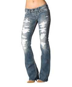 This Light Denim Tuesday Torn Bootcut Jeans by Silver & Co. is perfect! #zulilyfinds