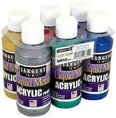 Sargent Art Liquid Metals 4 oz Metallic Acrylic Paints, 6 Colors *** You can get additional details at the image link. (This is an affiliate link) Metallic Gold Paint, Metallic Blue, Painted Wood Crafts, Best Chalk Paint, Sargent Art, Paint Brush Art, Paint Prices, Liquid Metal, Mineral Paint
