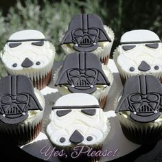 Fondant Star Wars Storm Trooper Darth Vader cupcake toppers