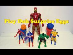 Play-Doh Superheroes Surprise Eggs with Ironman, Spiderman, Captain Amer...