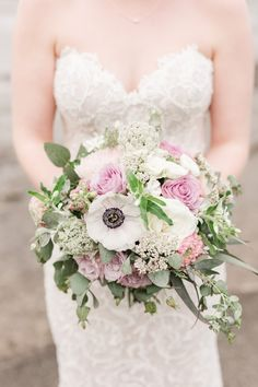 Wedding Flowers / bridal bouquet / wedding florals, anenome, roses, purple and white Bouquet Wedding, Floral Wedding, Wedding Flowers, Wedding Dresses, Anna, Wedding Details, Florals, Roses, Wedding Photography