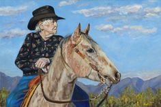 """Waitin on the Drive"" - Portrait of Georgie Sicking Cowboy Poet by Horse Portrait Artist Anne West"