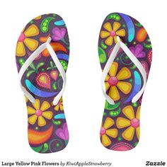 Shop Large Yellow Pink Flowers Flip Flops created by KiwiAppleStrawberry. Large Flowers, Pink Flowers, Blue Green, Yellow, Beach Flip Flops, Chart Design, Womens Flip Flops, Flip Flop Shoes, Beaded Flowers