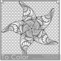 Printable Starfish Coloring Page for Adults PDF / JPG by ToColor