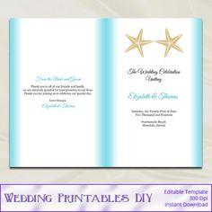 Starfish Beach Wedding Programs Template  by WeddingPrintablesDiy, $8.00