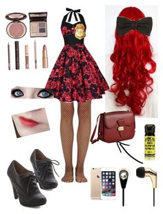 """""""fnaf security guard day 3"""" by laughing-jack5 ❤ liked on Polyvore featuring Skullcandy, Gucci, Wolford, Charlotte Tilbury and Dressage Collection"""