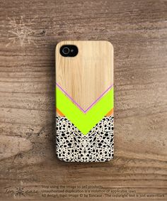 Geometric iPhone 5 case wood iPhone 4 case neon green by TonCase, $23.99