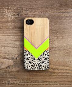 Geometric iPhone 5 case wood iPhone 4 case neon green iPhone 4s case chevron iphone 4 case iphone 5s case unique iphone 5 case retro c195