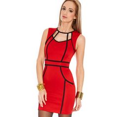 eacd3a5acd40 Black Red Red Black Cut Out Sleeveless Bandage Dress ( 24) ❤ liked on  Polyvore