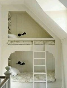 Loft beds...what a beautiful, simple way to save space