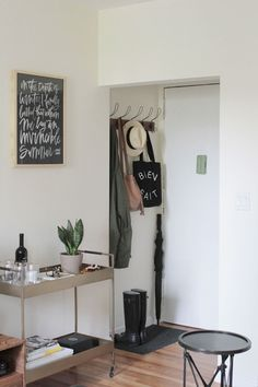 Below are the Decorating Ideas For Small Apartments. This post about Decorating Ideas For Small Apartments was posted under the … Small Apartment Entryway, Apartment Entrance, Apartment Living, Entryway Decor, Entryway Ideas, Apartment Therapy, Living Rooms, Apartment Decorating For Couples, Couples Apartment