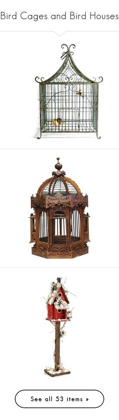 """Bird Cages and Bird Houses"" by mimi1207 ❤ liked on Polyvore featuring home, home decor, metal birdcage, metal home decor, wrought iron home decor, bird cage home decor, birdcage home decor, fillers, decor and steampunk"