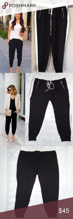 Tuxedo Jogger Pants NWOT Casual chic and so perfect for summer  dress it up with heels or sandals, or your favored tennis shoes .. You can't go wrong. Two front zipper pockets, drawstring waist for comfort, 100% viscose for that slacks feel.  ✅ will bundle ✅ ✅ all reasonable offers will be considered  No Trading  Poshmark rules only‼️ Measurements taken laying flat                             Ⓜrise 10-11 Ⓜwaist 19 Ⓜ️inseam 25-26 Express Pants Ankle & Cropped